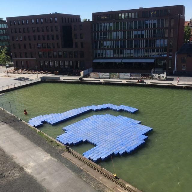 Montage schwimmende Theaterbühne Münster 2018