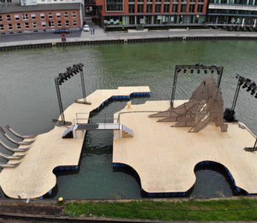 Europonton realisiert schwimmende Theaterbühne im Stadthafen Münster für das Wolfgang-Borchert-Theater