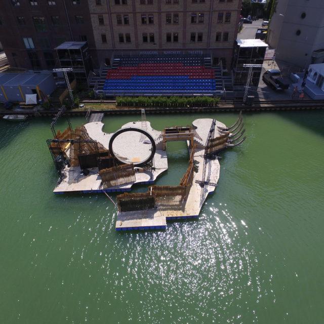 schwimmende Theaterbühne im Stadthafen Münster für das Wolfgang-Borchert-Theater